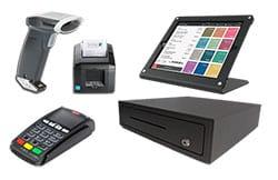 Kasseapparat bestående af en kraftig holder til iPad, printer, scanner, pengeskuffe og betalingsterminal